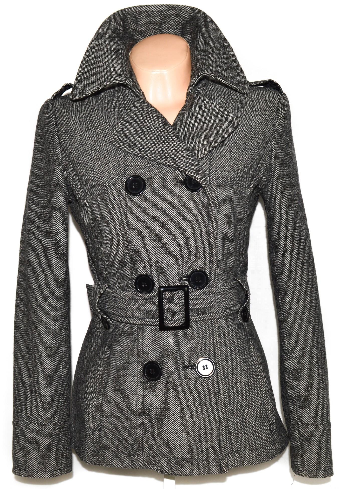 Vlněný dámský černobílý kabát s páskem GATE 40