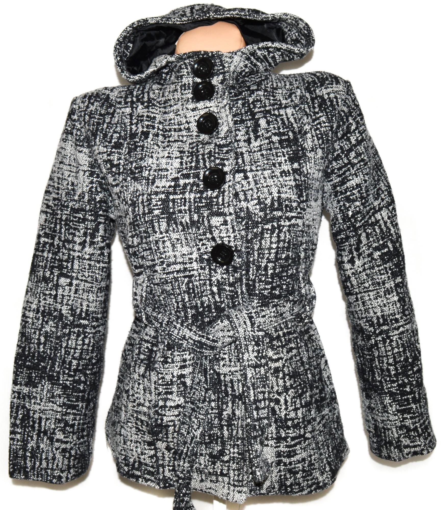 Vlněný dámský šedočerný kabát s páskem a kapucí L 752da3f62cd