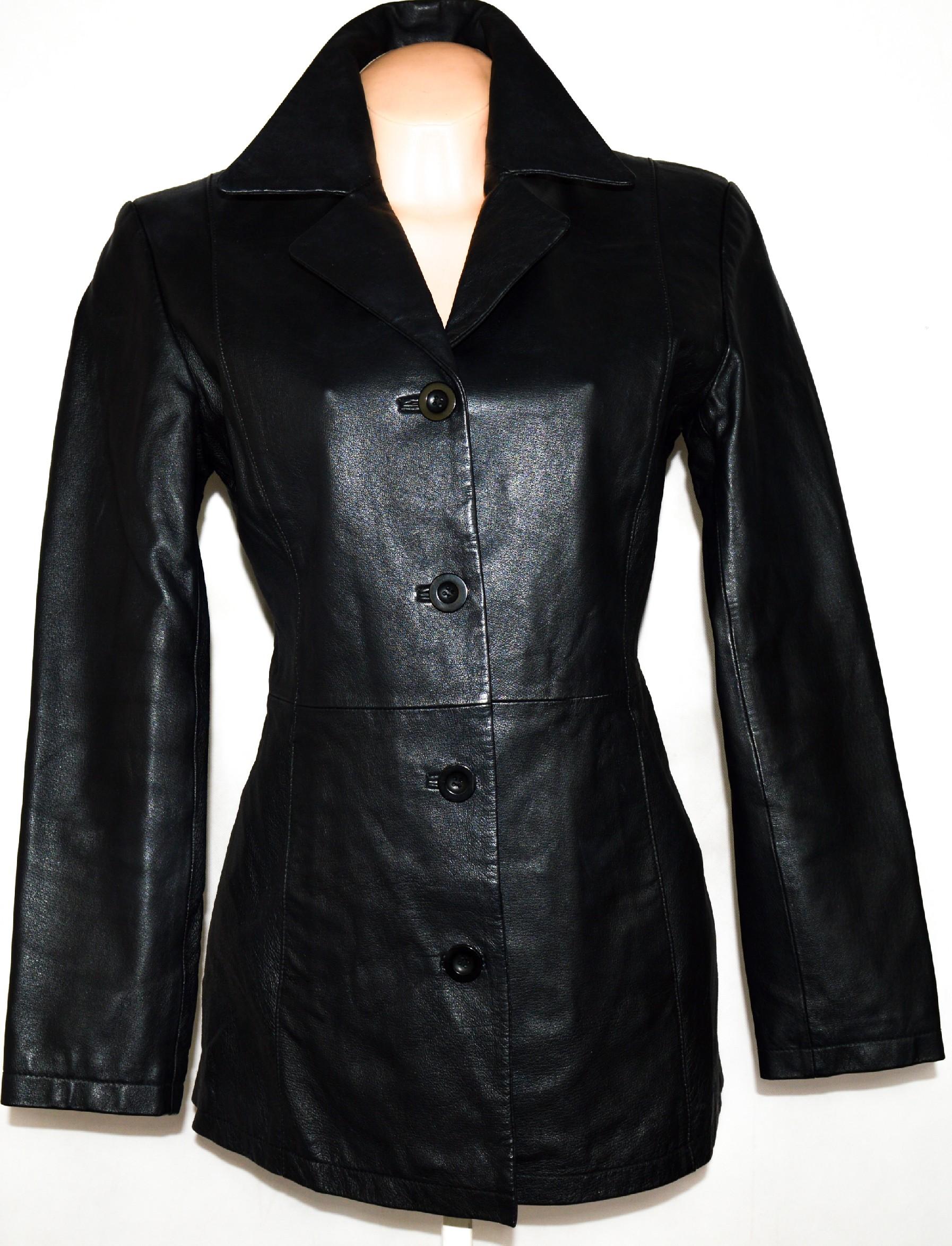 KOŽENÝ dámský černý kabát M/L