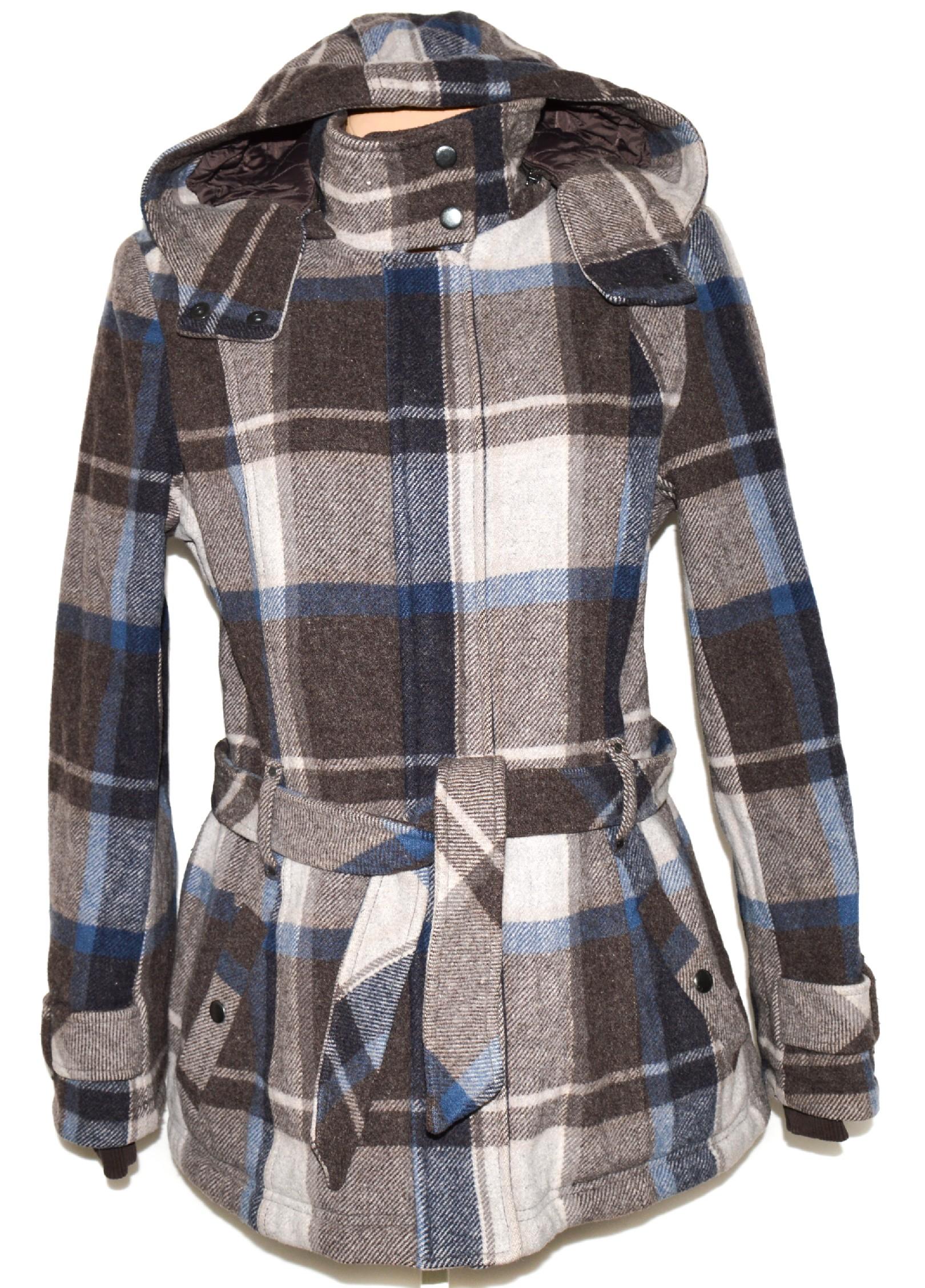 Vlněný dámský kostkovaný kabát s páskem a kapucí ESPRIT 42   XL f52c1aac048