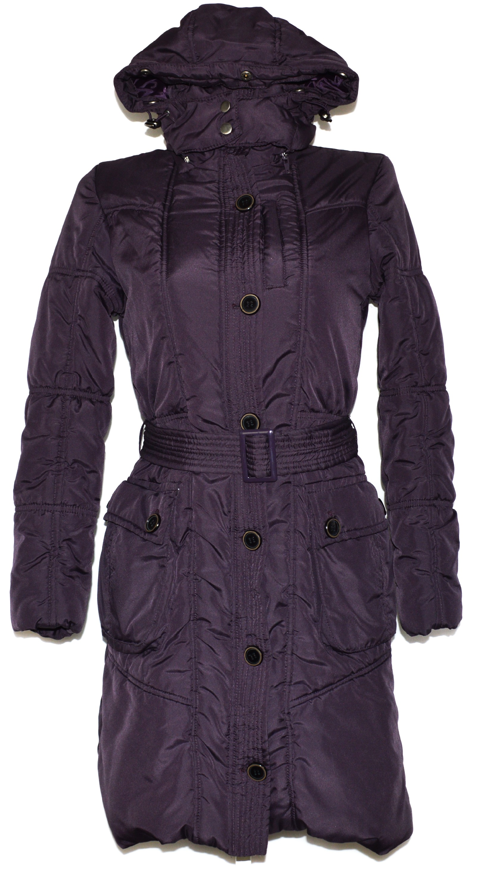 Dámský šusťákový fialový kabát s páskem a kapucí Otello S 7832f6e1fc8