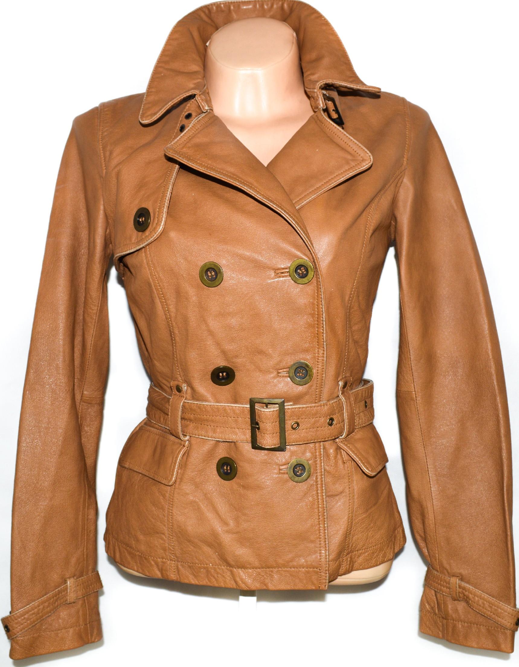 KOŽENÝ dámský hnědý měkký kabátek s páskem ORSAY 38