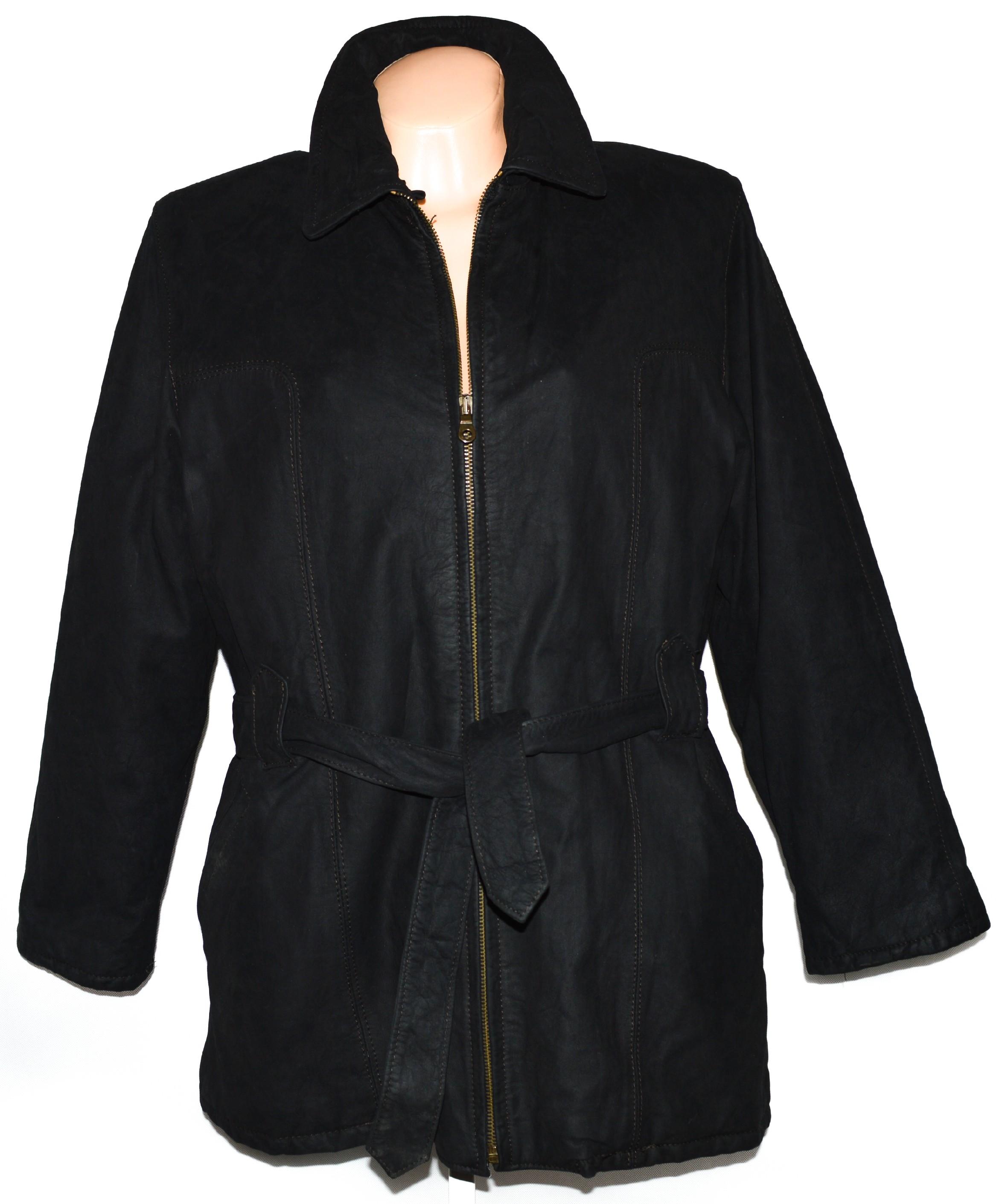 KOŽENÝ dámský hnědý měkký kabát s páskem XXL 463b28f544c