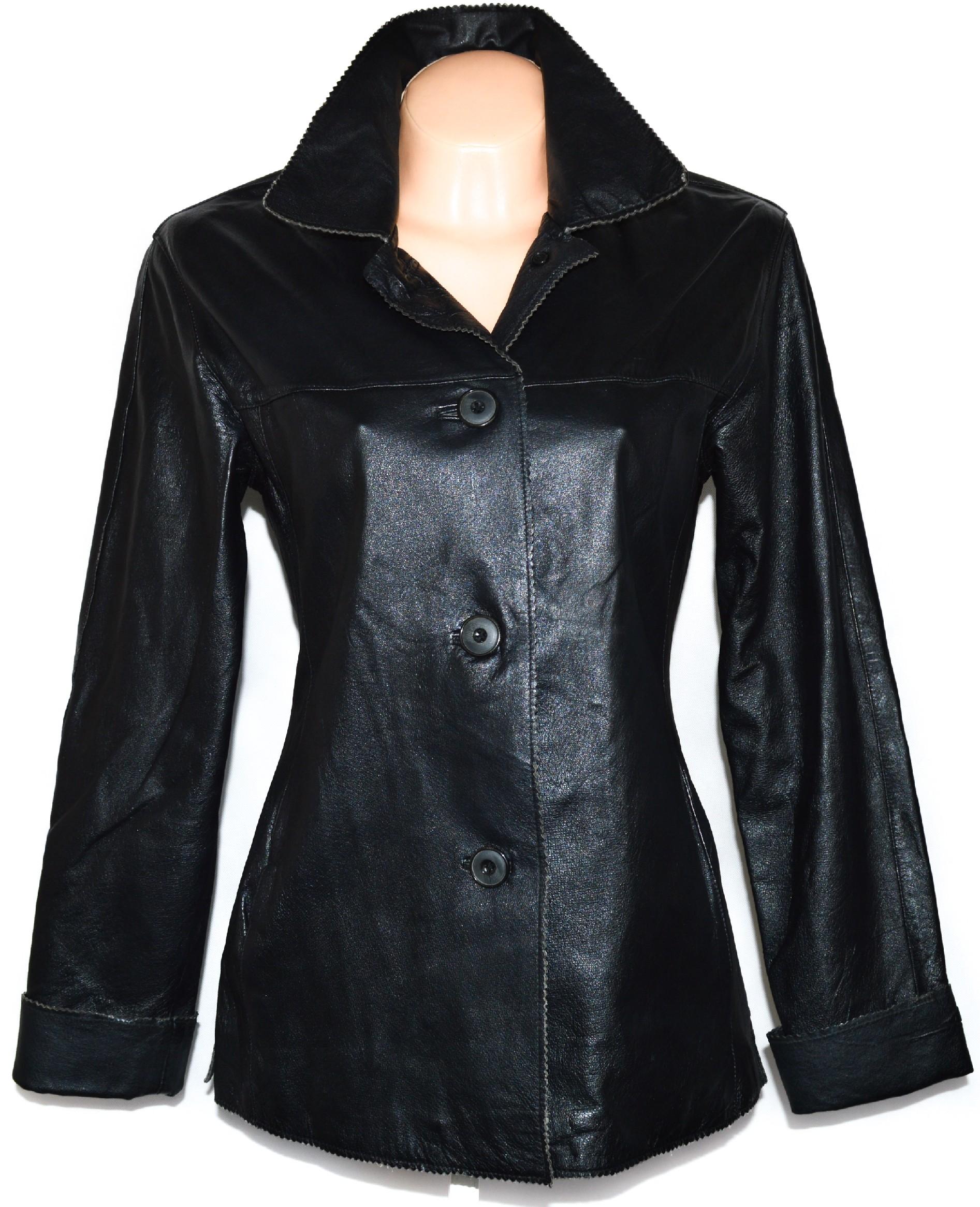 KOŽENÝ dámský měkký černý kabát 38