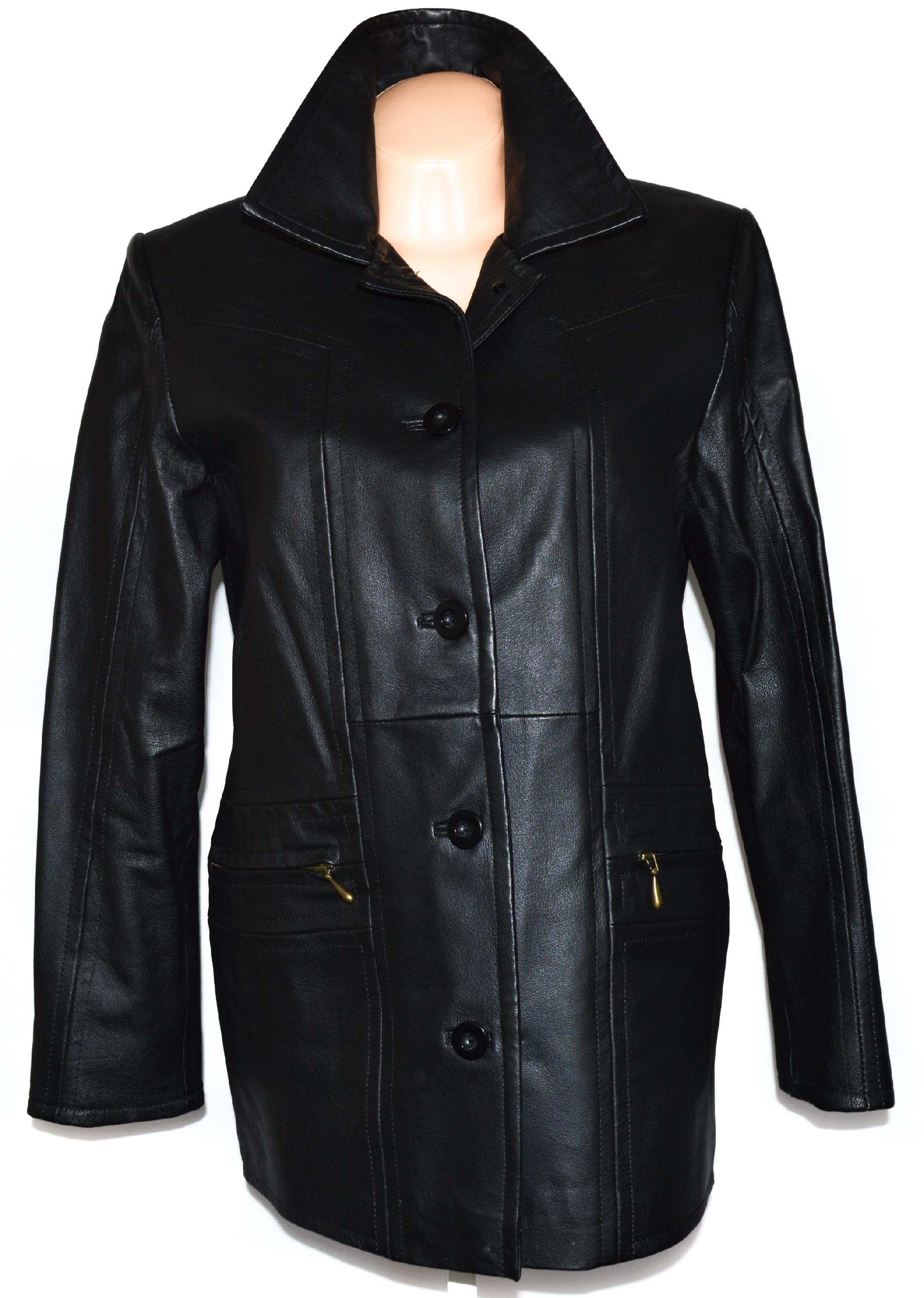 KOŽENÝ dámský černý kabát L/XL