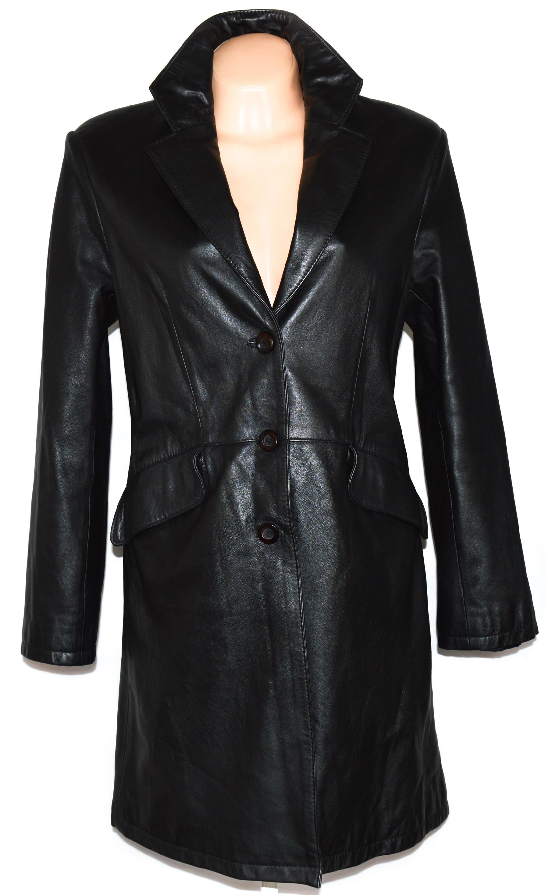 KOŽENÝ dámský černý měkký kabát Gesur L