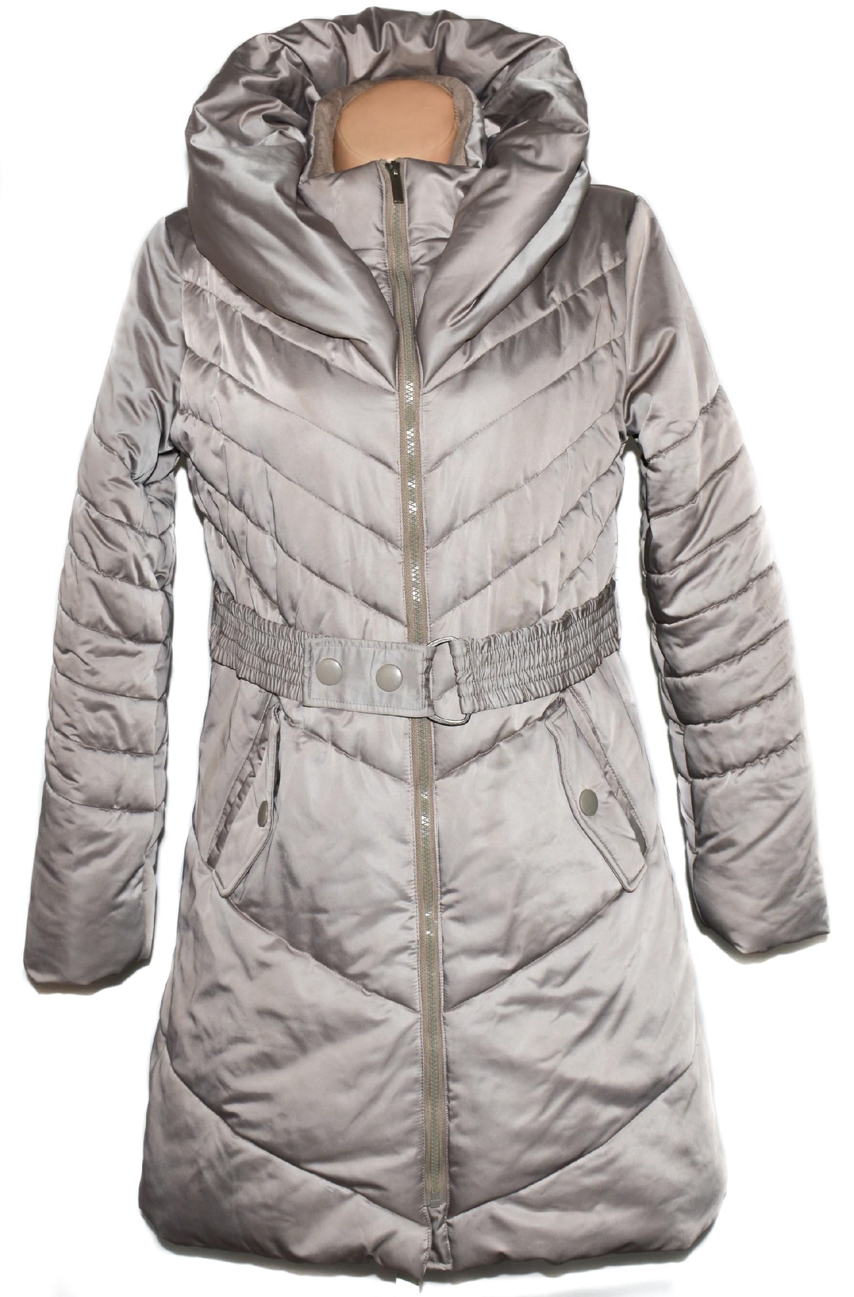 Péřový dámský šusťákový béžový kabát s páskem ORSAY L