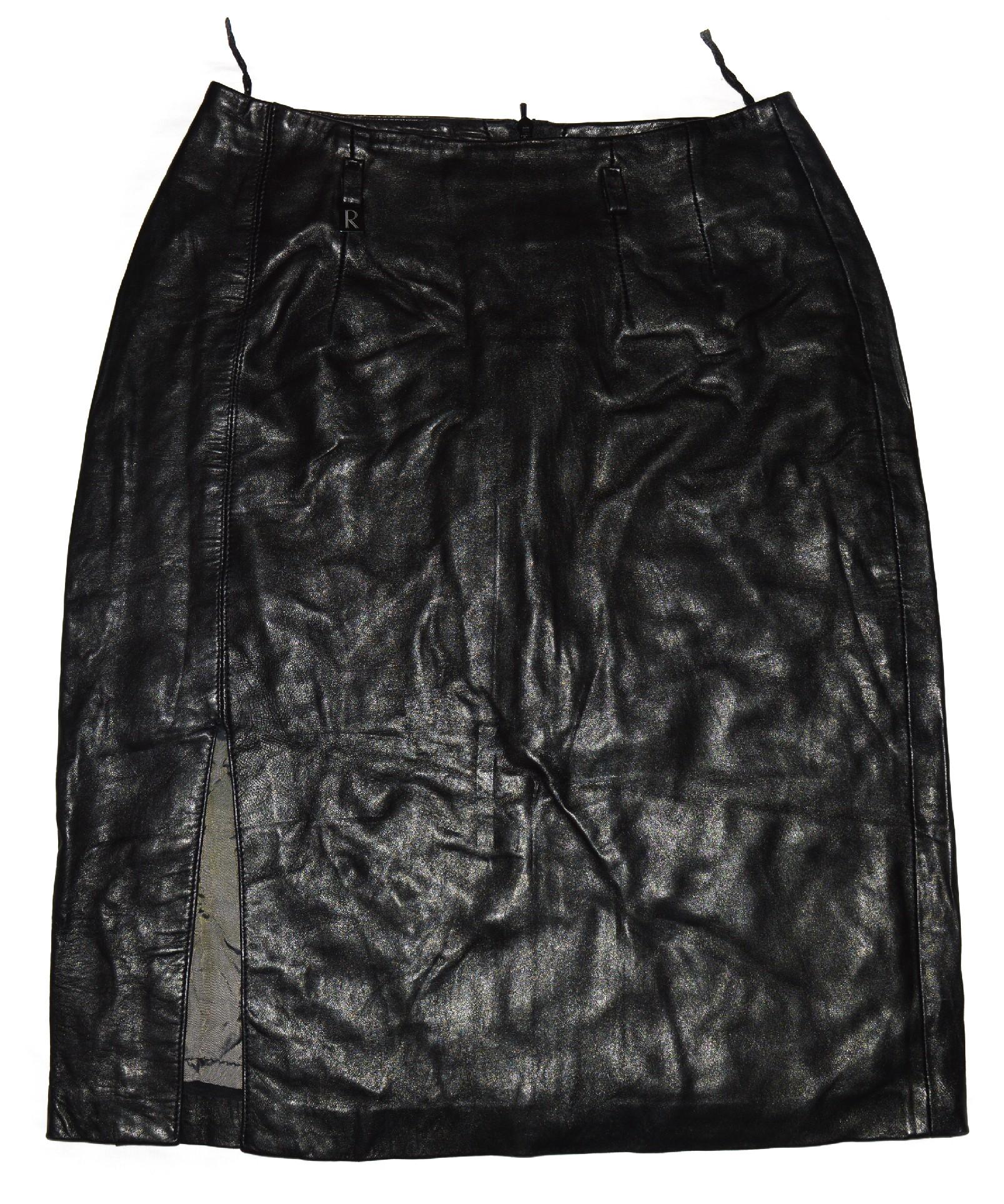 KOŽENÁ dámská černá měkká sukně S
