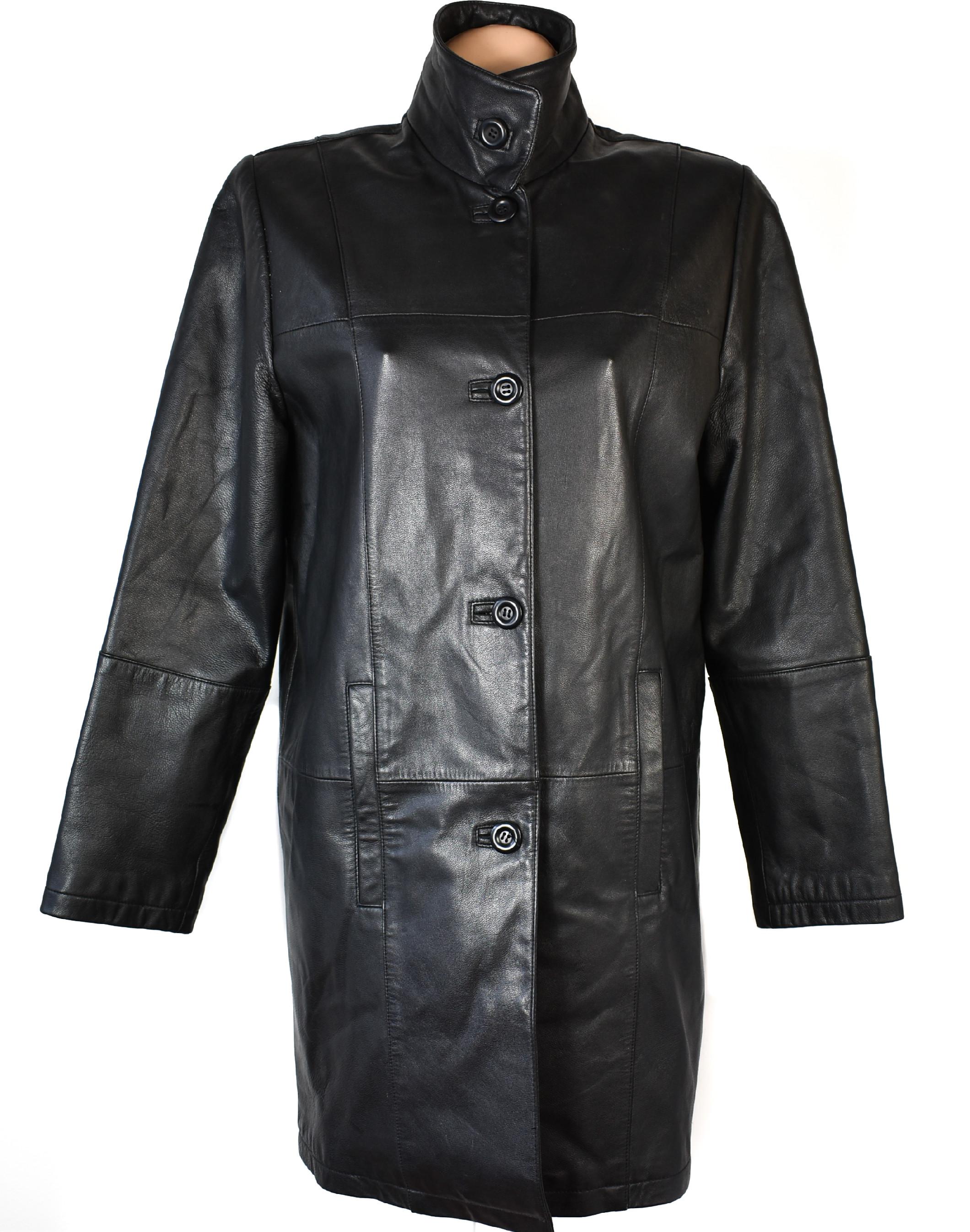 KOŽENÝ dámský černý kabát CERO XXXL+