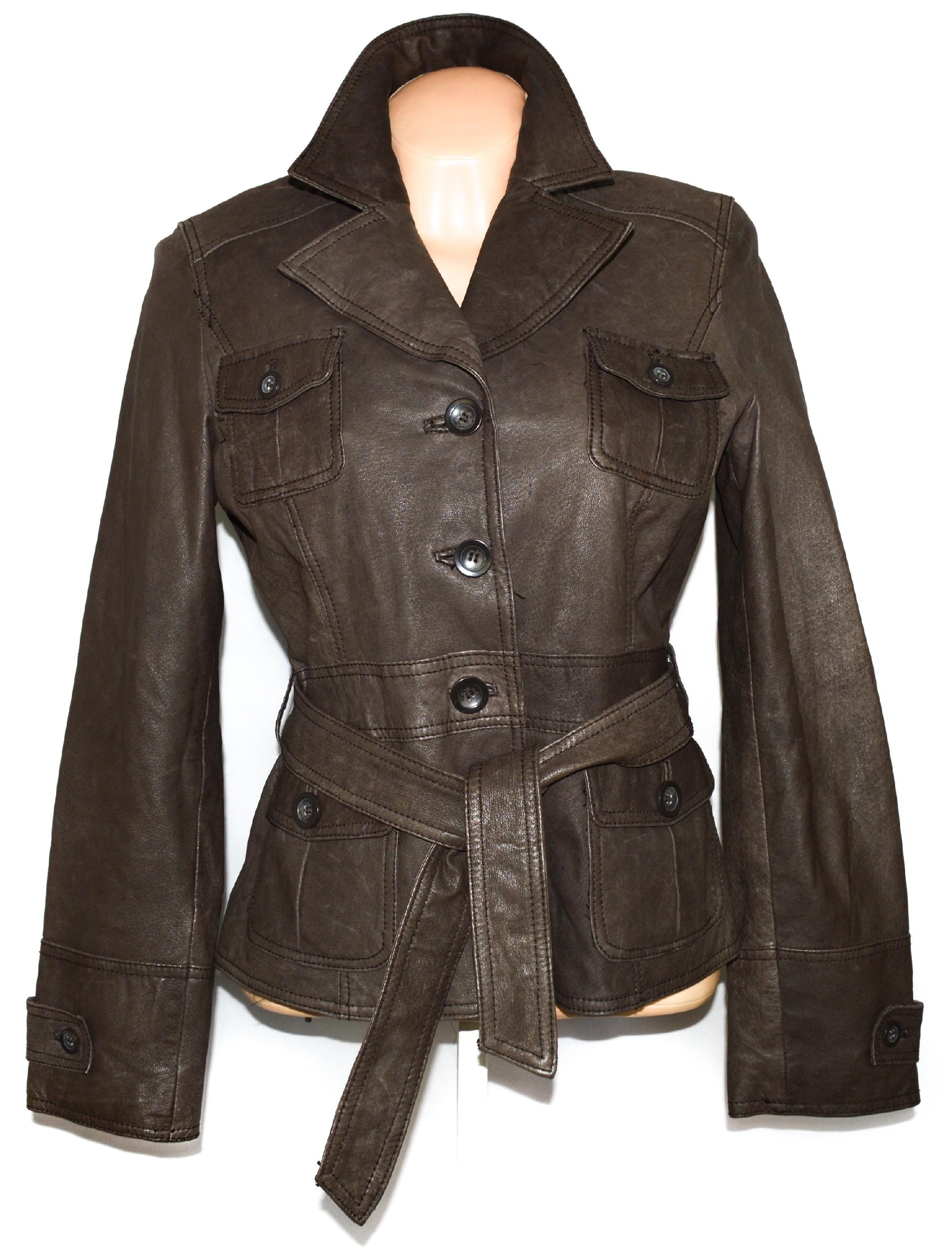 KOŽENÝ dámský měkký hnědý kabát s páskem ORSAY L