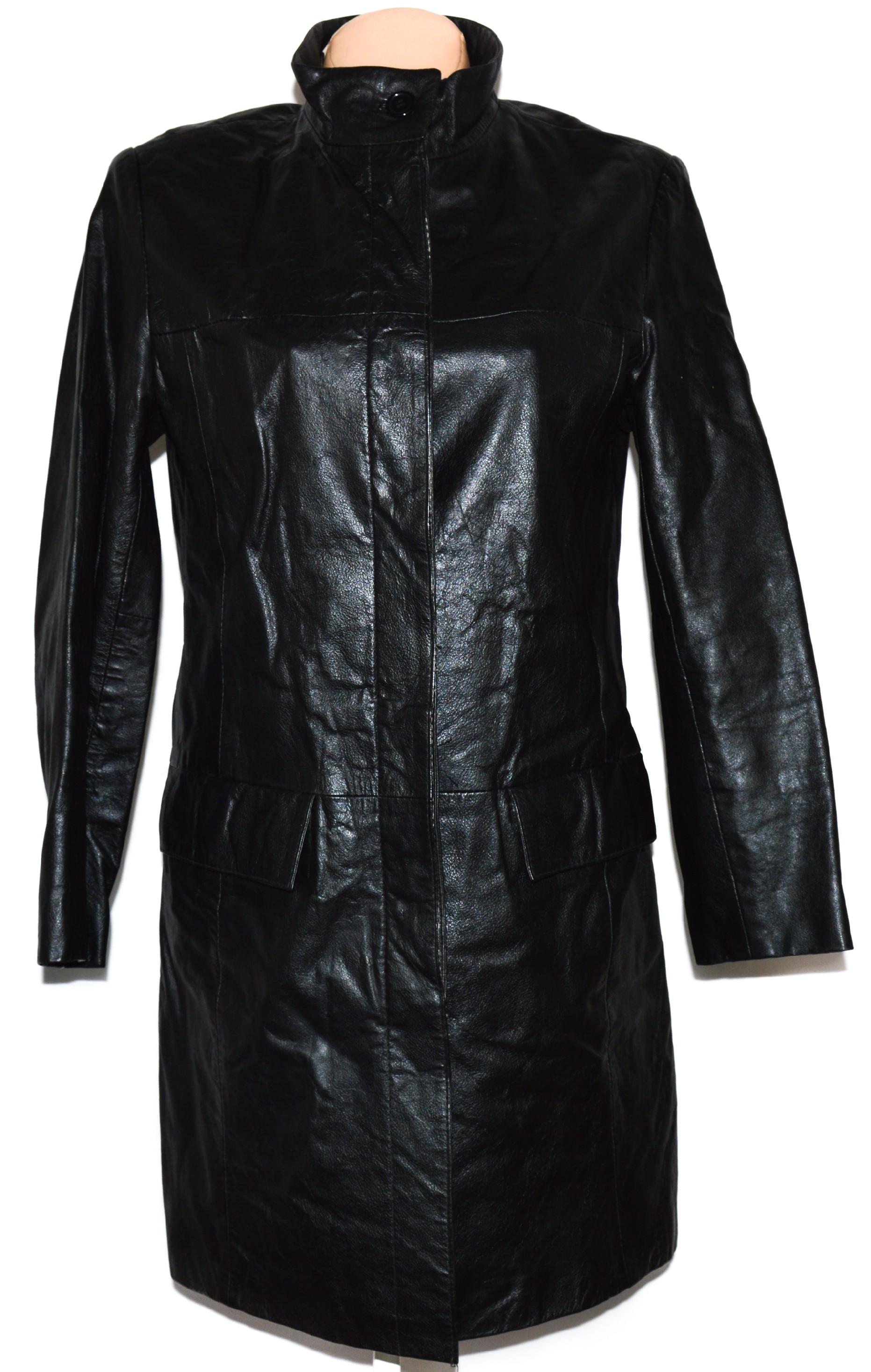 KOŽENÝ dámský černý kabát L