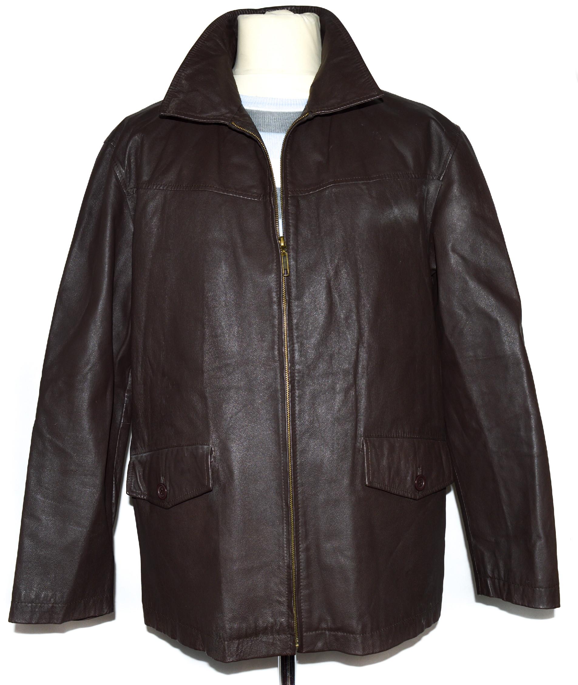 KOŽENÁ pánská hnědá bunda na zip Greenwoods L
