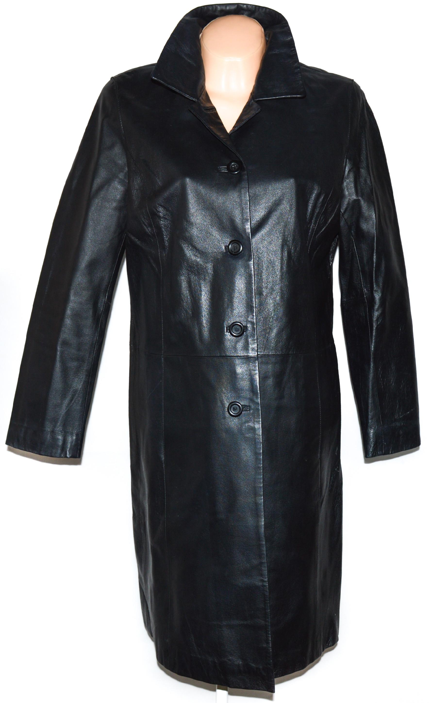 KOŽENÝ dámský černý dlouhý kabát Leather Palace L