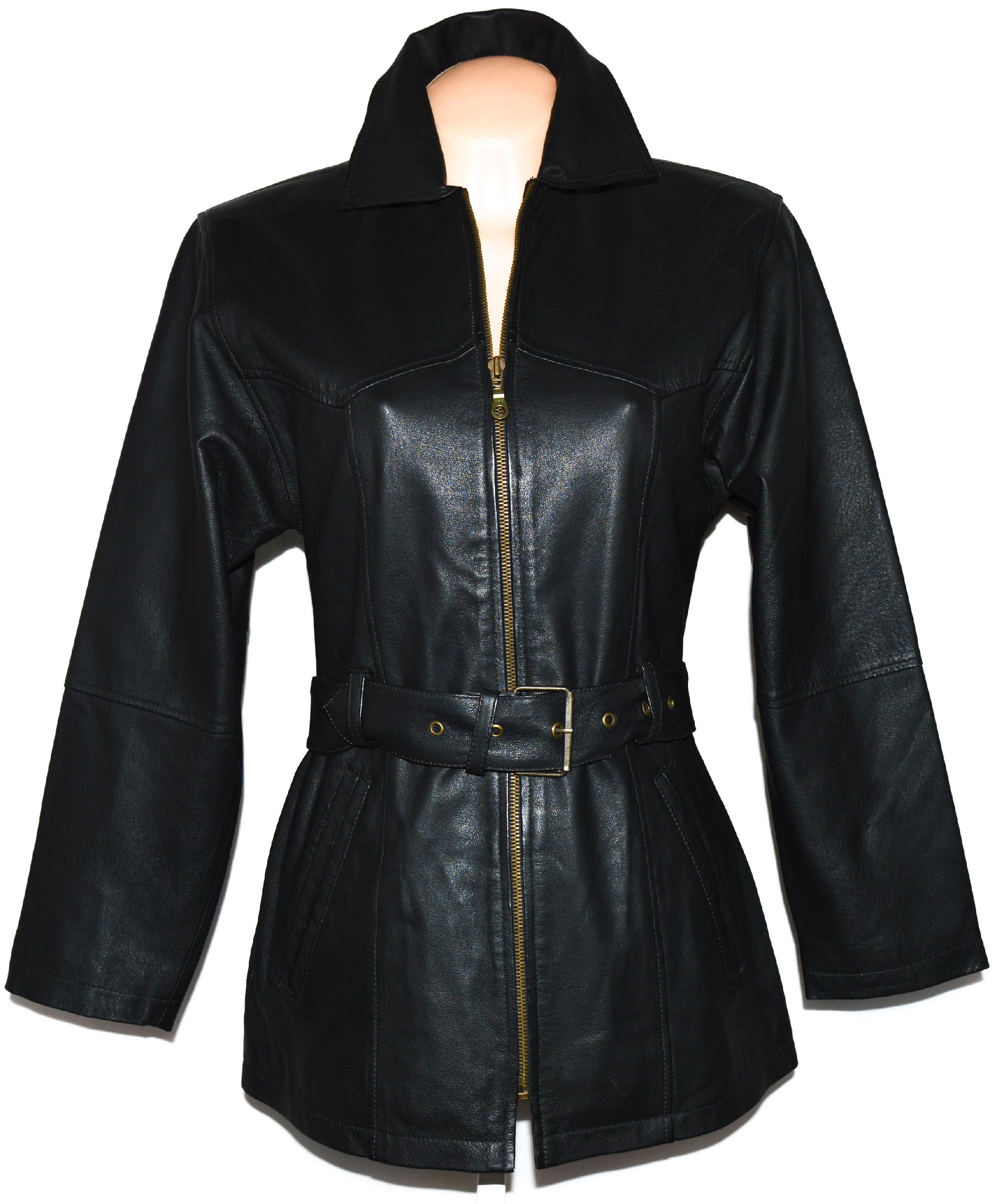 KOŽENÝ dámský černý měkký kabát na zip s páskem S