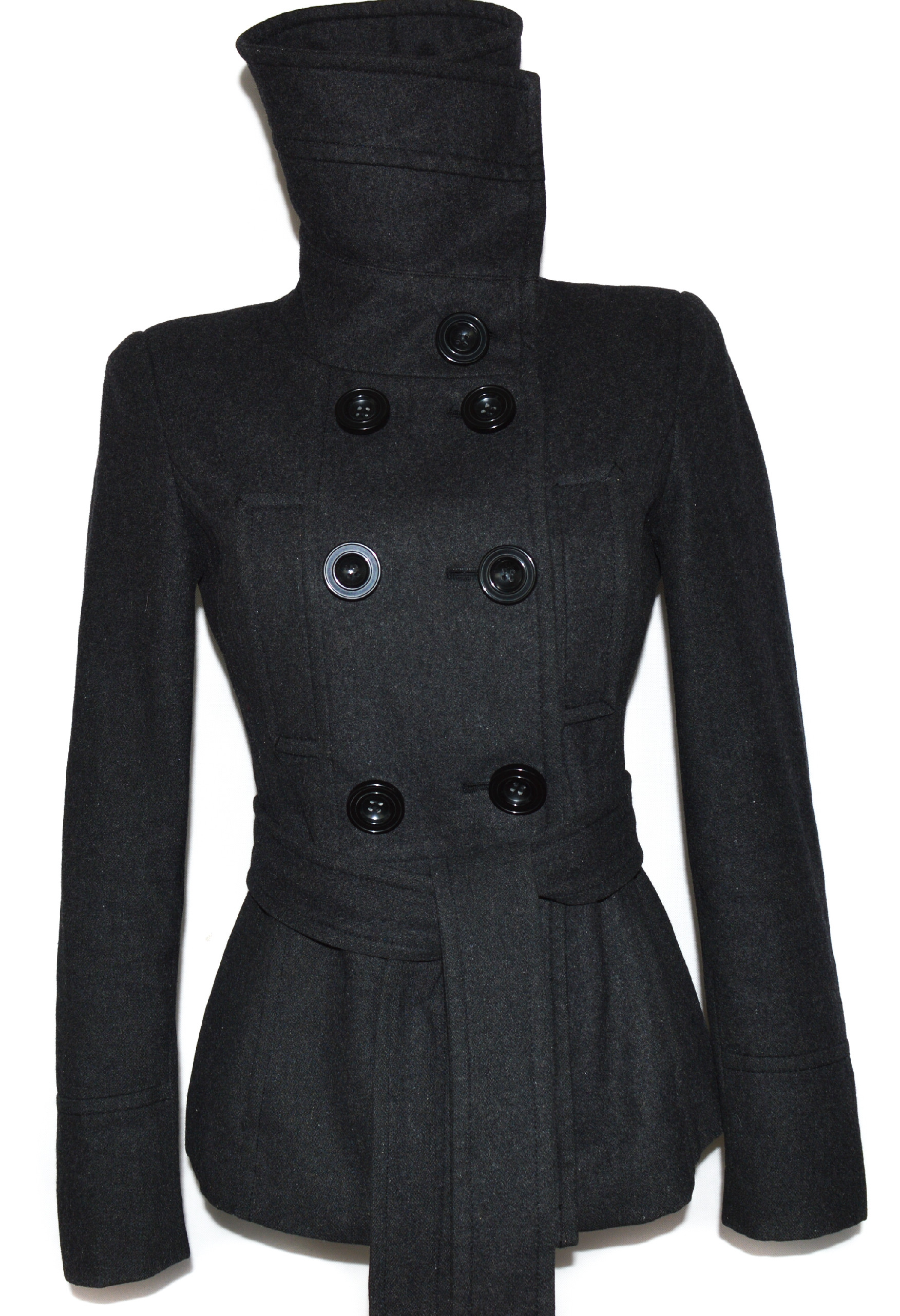Vlněný (60%) dámský šedý kabát s páskem ZARA M