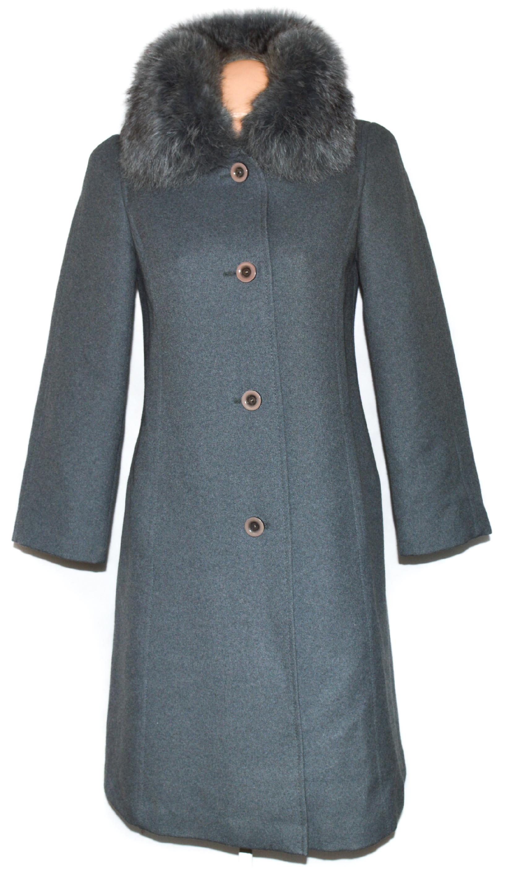 Vlněný dámský šedý kabát s kožíškem Goldix M