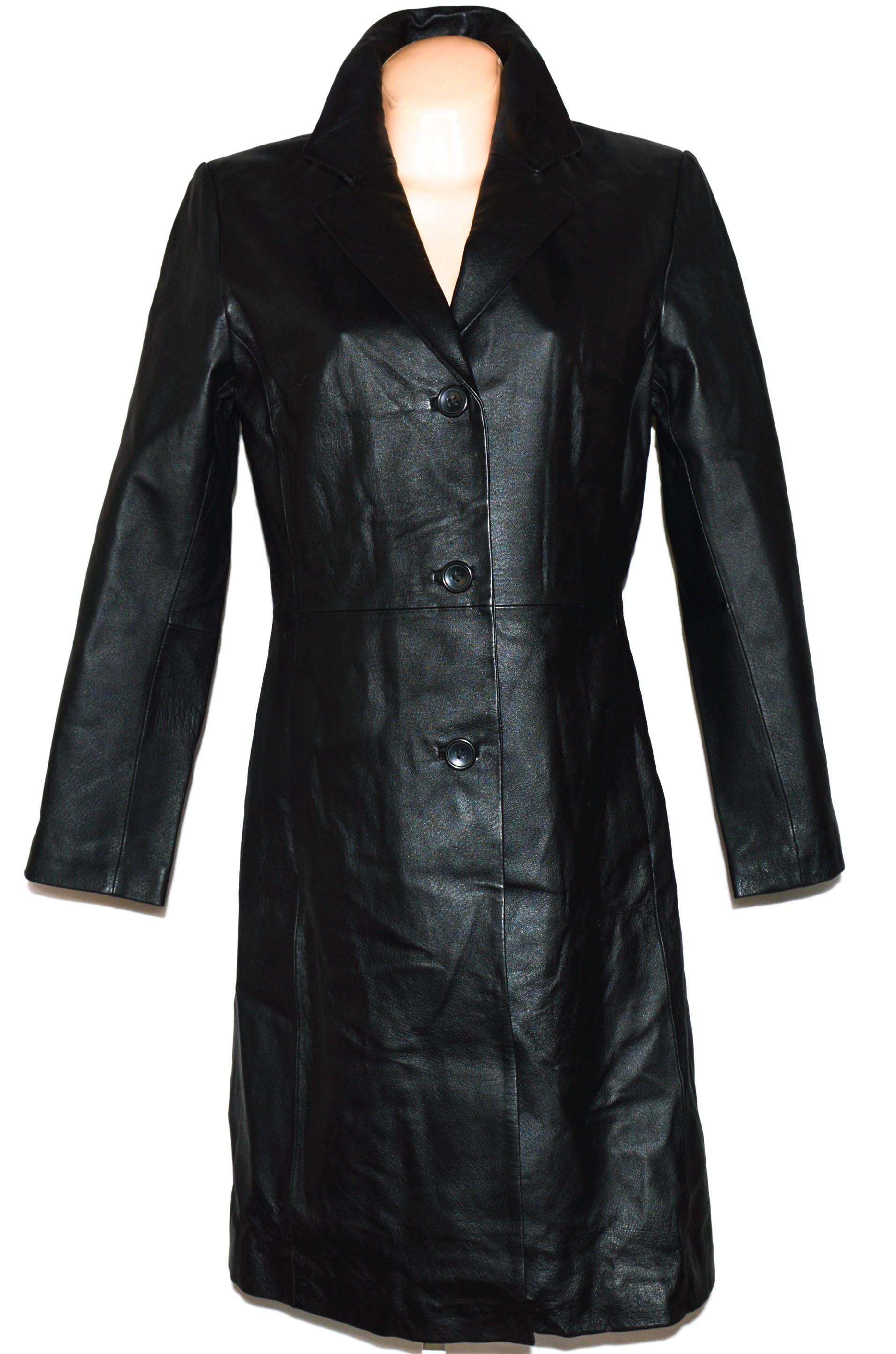 KOŽENÝ dámský dlouhý černý kabát Target L