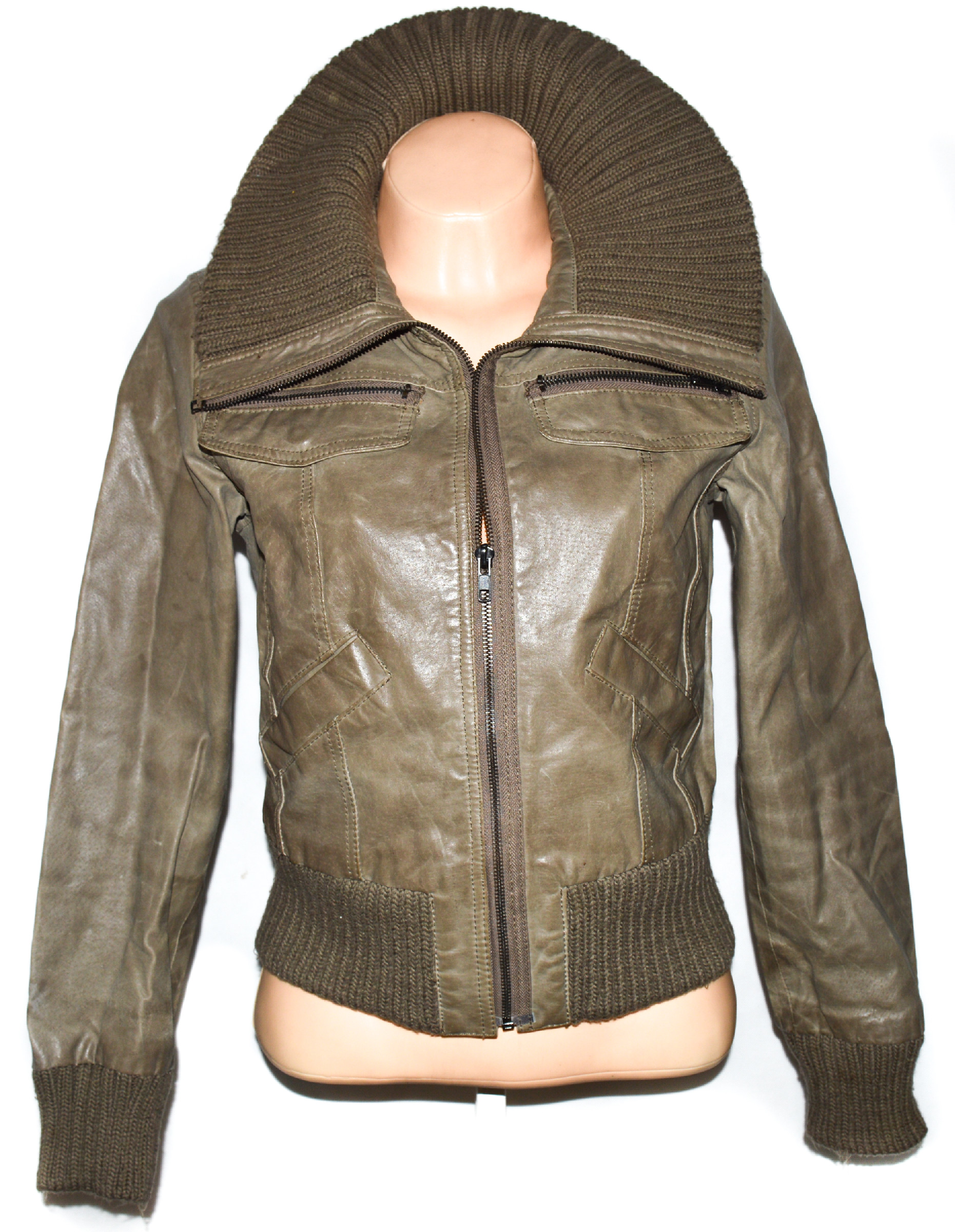 KOŽENÁ dámská hnědá bunda na zip NEW LOOK L