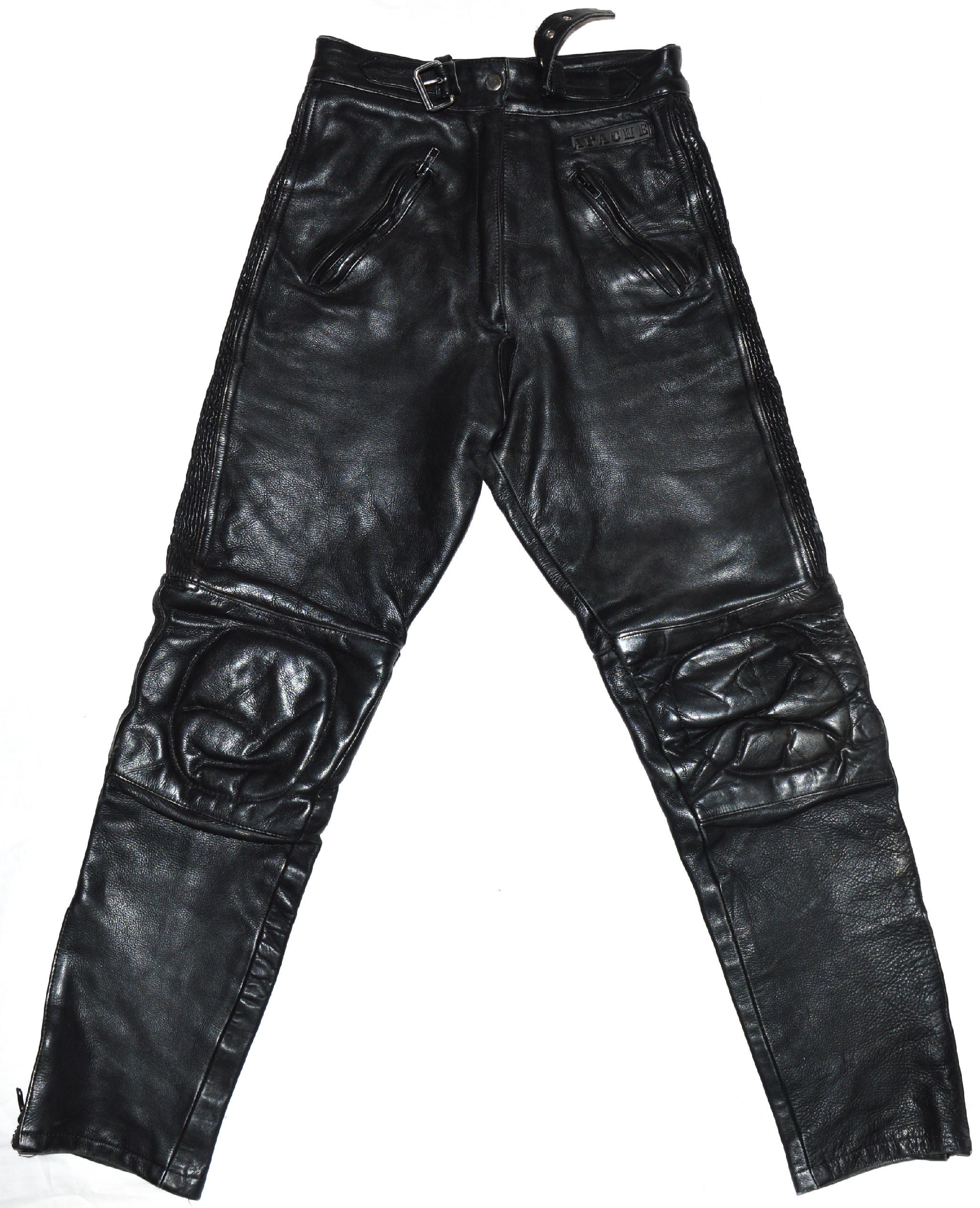 6b7598513c6 KOŽENÉ motorkářské černé kalhoty Apache UK 12