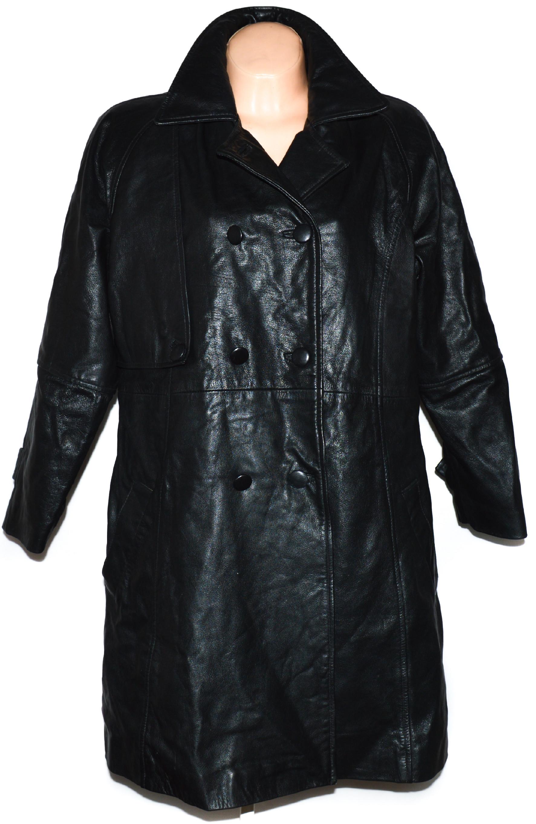 KOŽENÝ dámský černý dlouhý kabát GAPELLE XXL