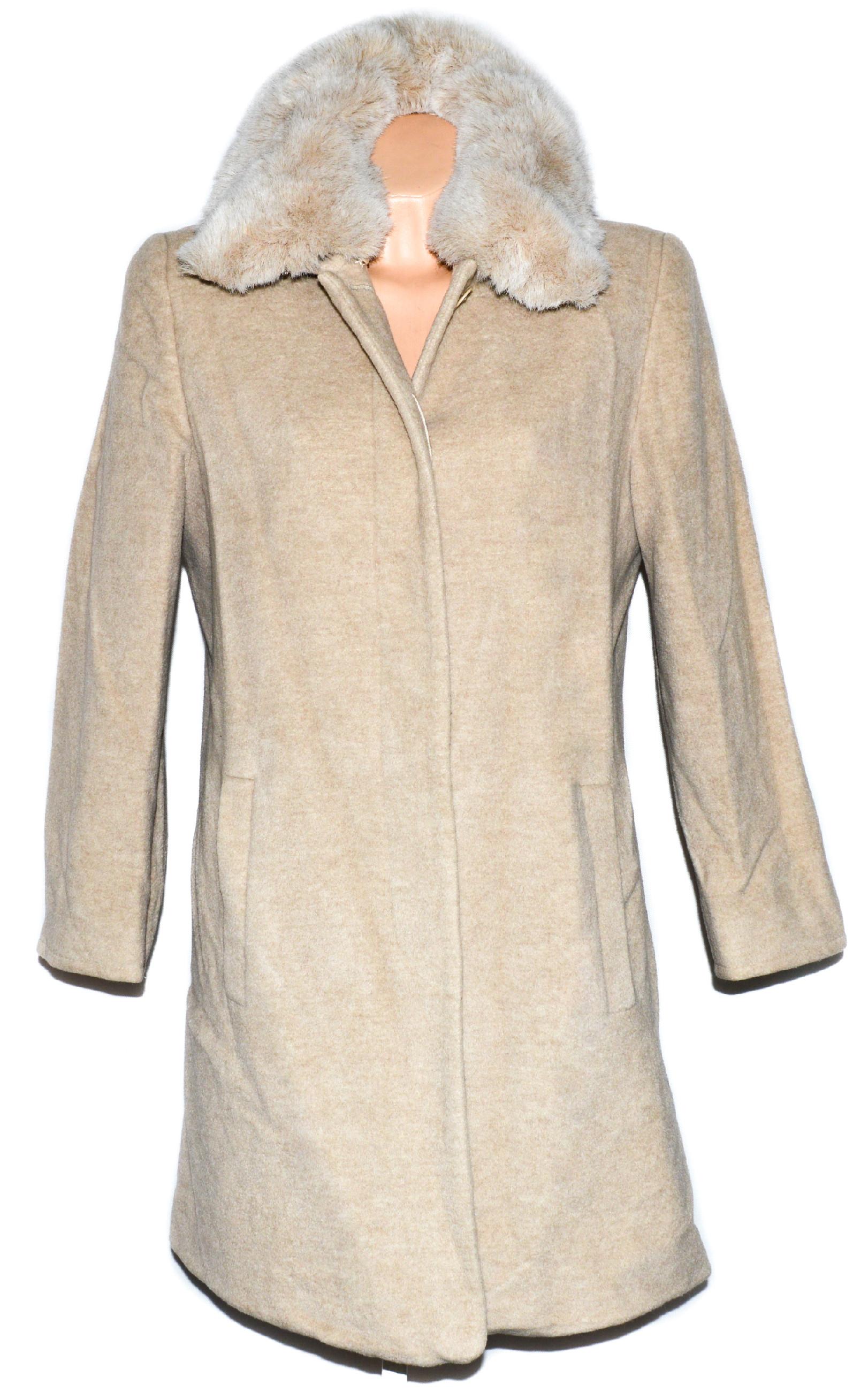 Vlněný dámský béžový kabát s kožíškem Windsmoor L XL e8fae48176