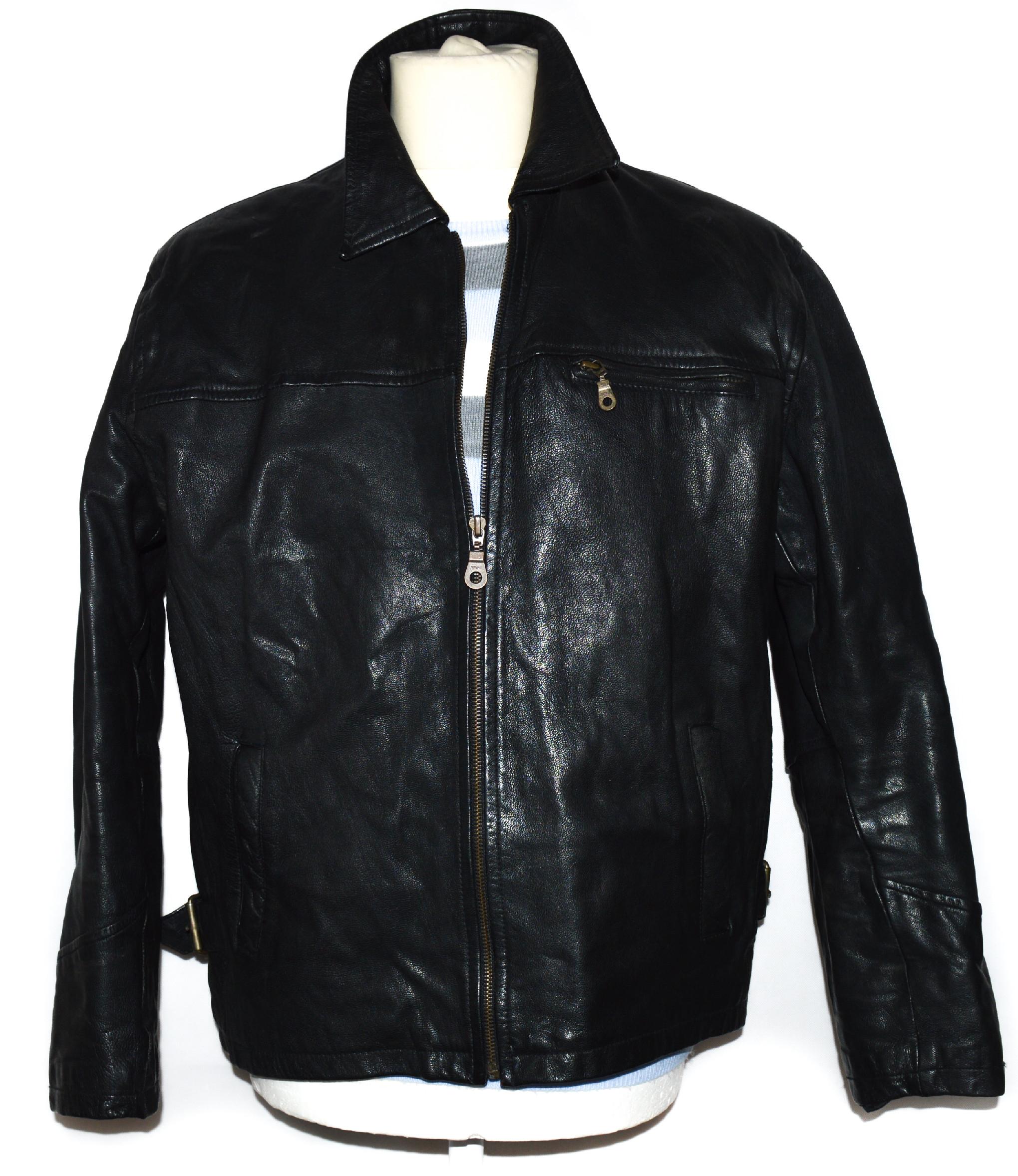 KOŽENÁ pánská černá bunda na zip L/XL