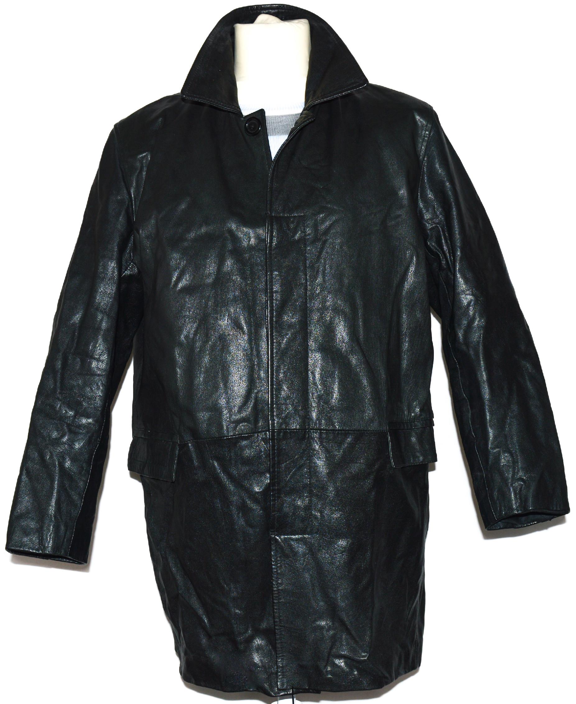 KOŽENÝ pánský černý kabát L