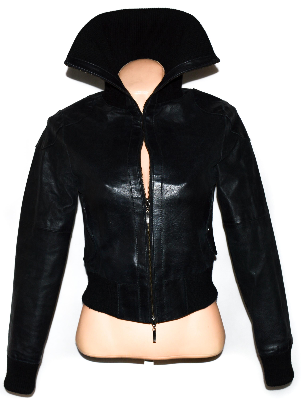 KOŽENÁ dámská černá bunda na zip S