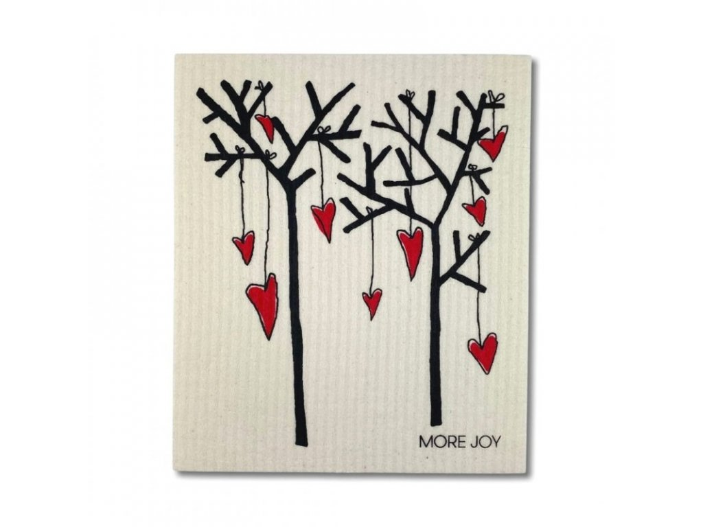 More Joy Pratelná univerzální utěrka - Stromy a srdce