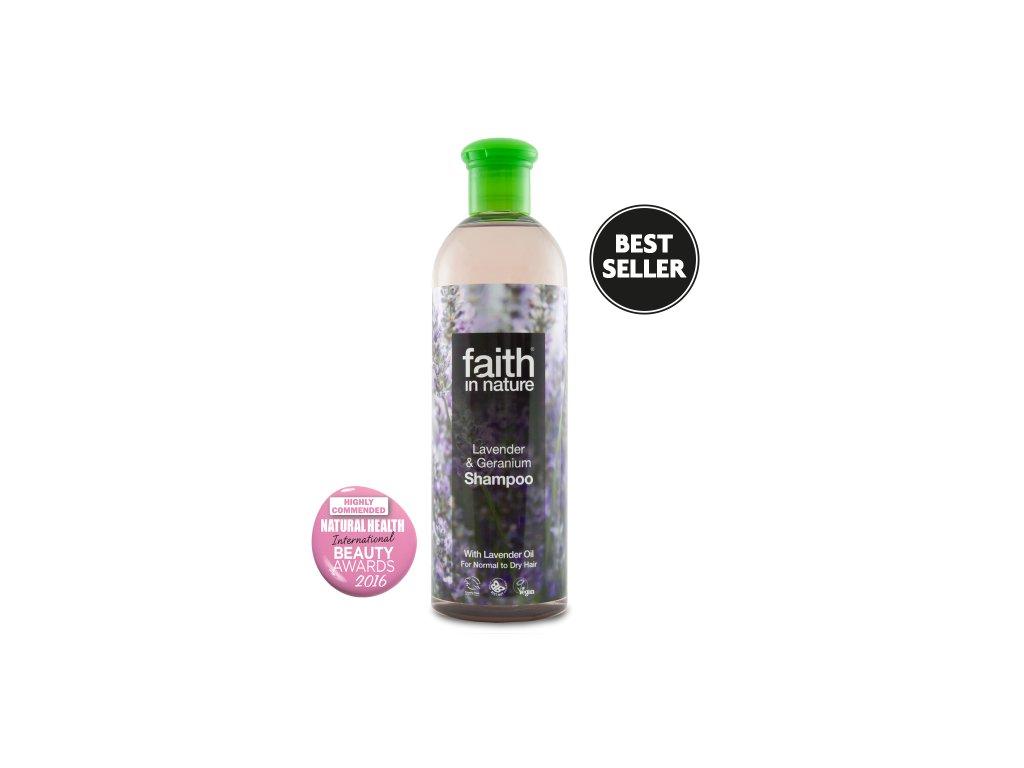 Faith in Nature přírodní šampon Levandule a Pelargónie 250 ml