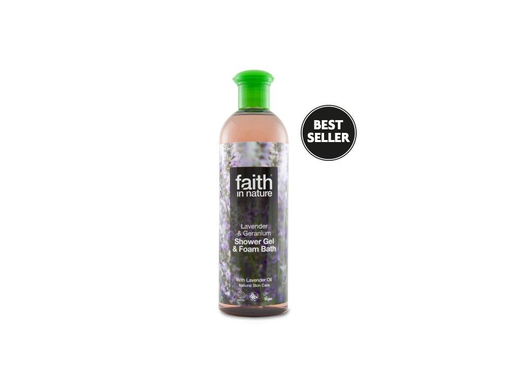 Faith in Nature 2v1 Levandule a Pelargónie sprchový gel a pěna do koupele 250 ml