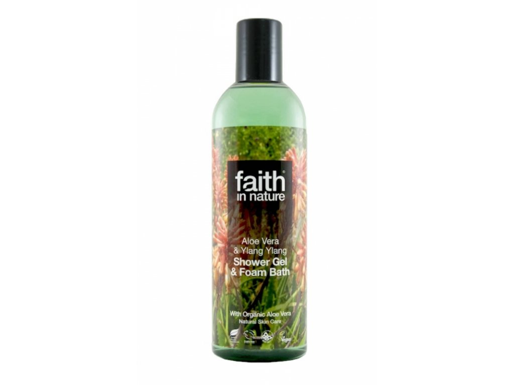 Faith in Nature 2v1 BIO Aloe Vera a Ylang Ylang sprchový gel a pěna do koupele 250 ml