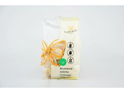 Sušenky brusinkové s kokosem bez lepku, vajec a mléka - Natural 150g
