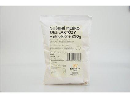 Sušené mléko bez laktózy - plnotučné - Natural 250g