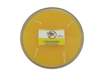 Repelentní svíčka miska 4knoty citron-mandarinka