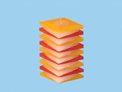 Svíčka PDP kosočtverec červeno žlutý