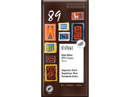 Bio hořká čokoláda 89% VIVANI 80g