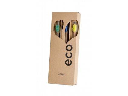 Ecoheart Giftbox - dárkové balení bambusových kartáčků (var. 2) (3 ks)