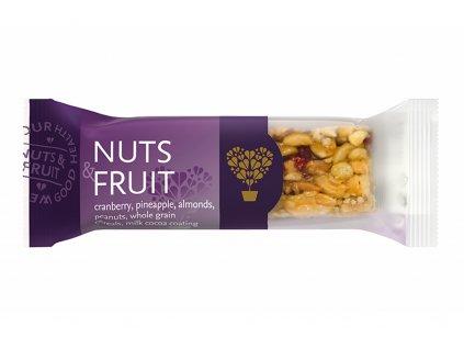 Tyčinka Nature land - ořechy a ovoce v mléčné polevě - Tekmar 40g