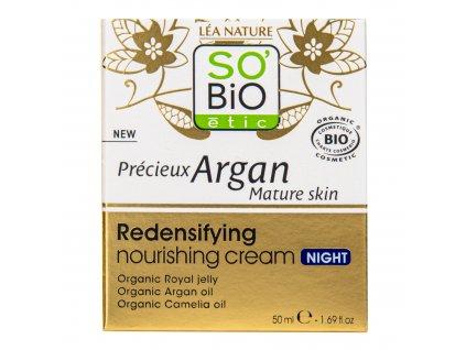 Krém noční výživný a zpevňující GOLD 50 ml BIO zralá pleť Precieux argan SO'BiO étic