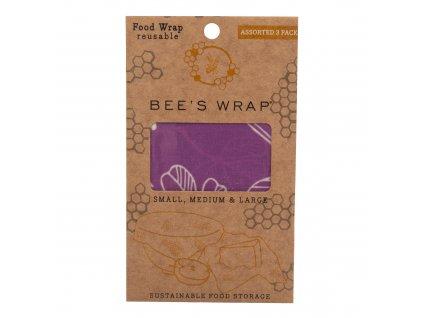 Ubrousek voskovaný 3 ks 17,5-33 cm fialový BEE'S WRAP