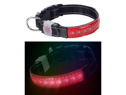 Svítící LED obojek plochý S červená