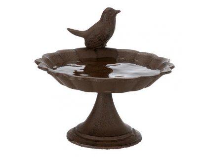 Venkovní pítko, miska s ptáčkem, litý kov