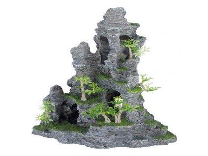 Skalní útvar s jeskyní a roslinami 31 cm - DOPRODEJ