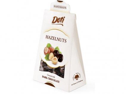 Lískové oříšky v čokoládě - dárková taštička 100g