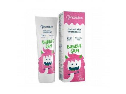Dětská přírodní zubní pasta Bubble Gum bez fluoridu 50 ml Nordics