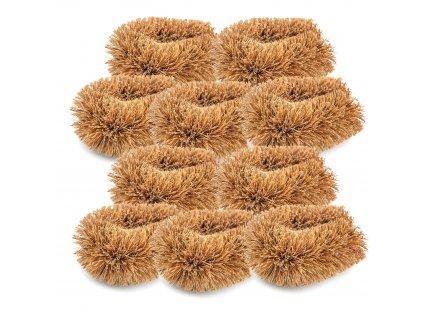 Balíček kartáčů malých z kokosových vláken 10 ks Wolfberry