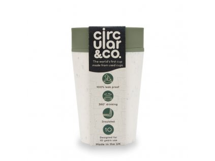 Circular Cup (227 ml) - krémová/zelená
