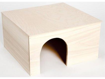 Domek dřevo králík rovná střecha XXL 37 x 35 x 20 cm