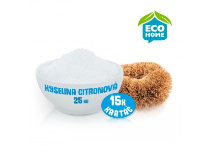 Kyselina citronová XL - 25 kg kyseliny + 15 kartáčů z kokosových vláken Wolfberry